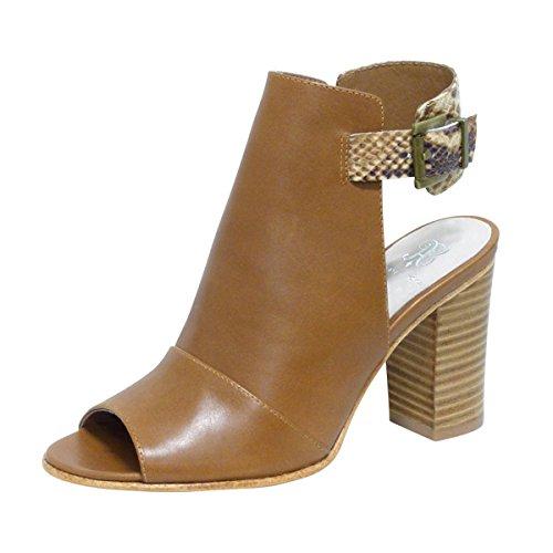 ANDREW STEVENS Women's Cheyenne Leather High Heeled Bootie (6, Tan)