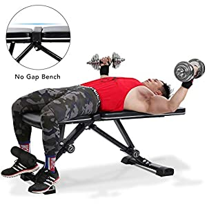 "MaxKare Adjustable Weight Bench Foldable Workout Exercise Bench with Truly 33.5"" Backrest, Automatic Lock, 7+3+2 Positions, Multi-Purpose 882 lbs Incline Decline Folding Bench"