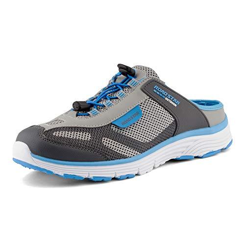 Fusskleidung Damen Herren Sabots Sneaker Sportschuhe Slip-On Clogs Pantoletten Freizeit Sandalen Grau Blau EU 44