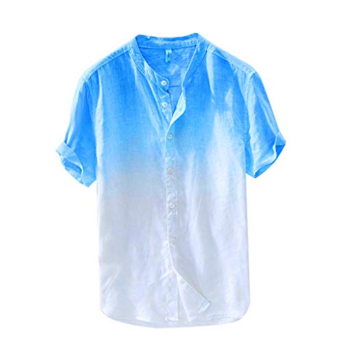 VOWUA Mens Gradient Color Cotton Linen Short Sleeve Button Down Shirts Cool Thin Breathable Hanging Dyed Blouse Blue