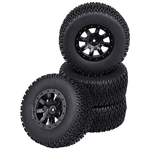 Aimrock 1/10 Glued 12mm Hex Short Course SC Trucks Wheels and Tires Combo, OD 4.3'' for Traxxas Slash 2WD 4WD Redcat Blackout Losi Tenacity Off-Road Car, Set of 4