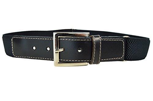 Olata Cinturón Elástico/Cuero para los Niños/Niñas 8-15 Años con Hebilla. Negro