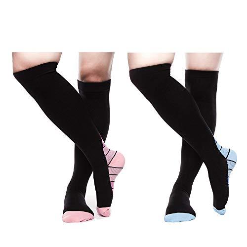 Compression Socks For Men & Women 20-30 mmHg (2/4 Pairs), Best Athletic & Medical Running Flight Travel Pregnant - Multi - S/M