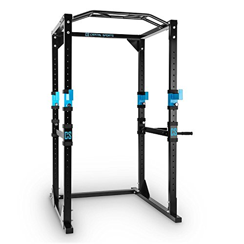 Capital Sports Tremendour Power Rack Käfig - Power Cage, Kraftstation, 2 x Safety Spotter: 20-stufig, 4 x J-Hooks, Multigripp-Klimmzugstange, aufsteckbare Dipstangen, Stahl-Rahmen, schwarz