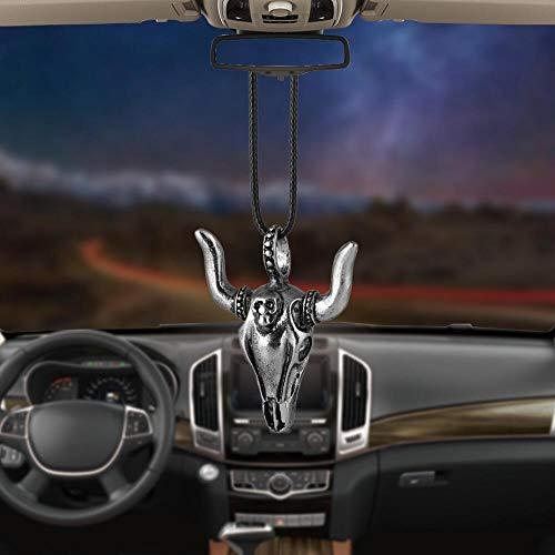 IJHJ Kuhhorn Ox-Kopf Auto Anhänger Hängende Ornamente Autos Rückspiegel Aufhängung Dekoration Zubehör Geschenke