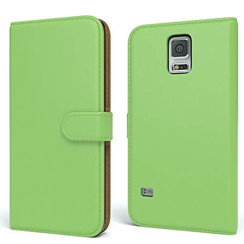 EAZY CASE Tasche für Samsung Galaxy S5/LTE+/Duos/Neo Schutzhülle mit Standfunktion Klapphülle im Bookstyle, Handytasche Handyhülle Flip Cover mit Magnetverschluss & Kartenfach, Kunstleder, Grün