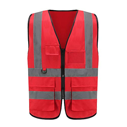 Meerdere kleuren Klasse 2 hi vis Rits Voorzijde Hoge Zichtbaarheid vest Hi Vis Workwear Executive Vest Security Waistcoat met Telefoon & ID Zakken Geel Oranje - 2 Two Tone Medium Rood