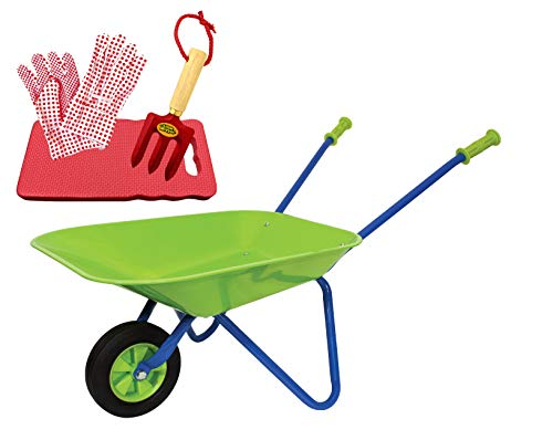 Family Games Little Moppet Kids Wheelbarrow, Kneeling pad, Gloves, & Rake Bundle for Children's Gardening