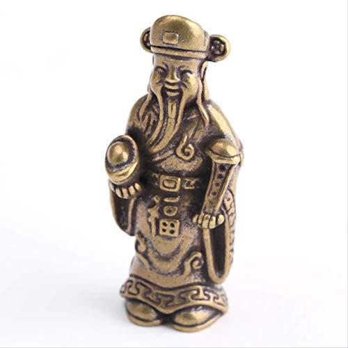 KKUUNXU Creativo Lucky Jinbao Dios de la Riqueza Llavero Colgante Retro latón joyería Jucai Colgante Hecho a Mano Regalo de Pareja