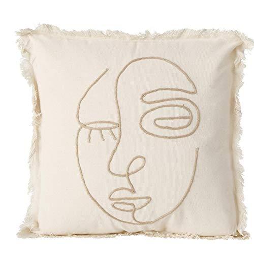 CasaJame - Cojín decorativo con cara (45 x 45 cm), color beige