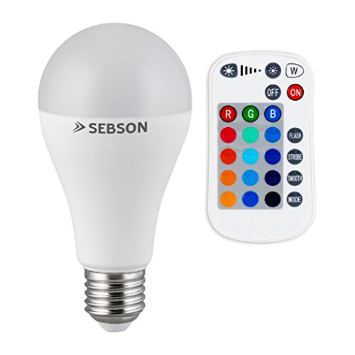 SEBSON® LED Lampen E27 RGB Farbwechsel, bunt 15 Farben, dimmbar, 4 Modi, Fernbedienung, warmweiß 2700K
