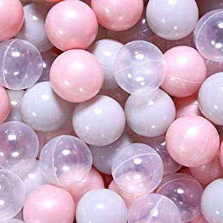 PlayMaty Play Ball Pit Balls- 2.36 Inches Pearl Pink Plastic Phthalate & BPA Free Ocean Ball Crush Proof Stress Balls for Toddlers and Kids Add to Playhouse Pool Ball Pit Accessories(70 Balls)
