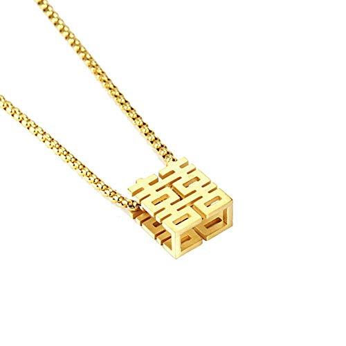Ccyyy Anhänger Halskette chinesisches Schriftzeichen Hallo Anhänger Hip Hop Männer und Frauen lieben Halskette Titan Stahl personalisierte Accessoires,Gold