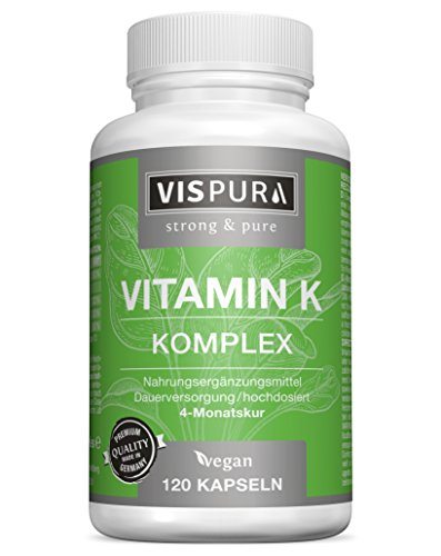 VISPURA® Vitamin K Komplex hochdosiert & vegan, K1 1.000 mcg + K2 Menaquinon (1.000 mcg MK4 + 200 mcg MK7), 120 Kapseln für 4 Monate, beste Bioverfügbarkeit, ohne Zusatzstoffe