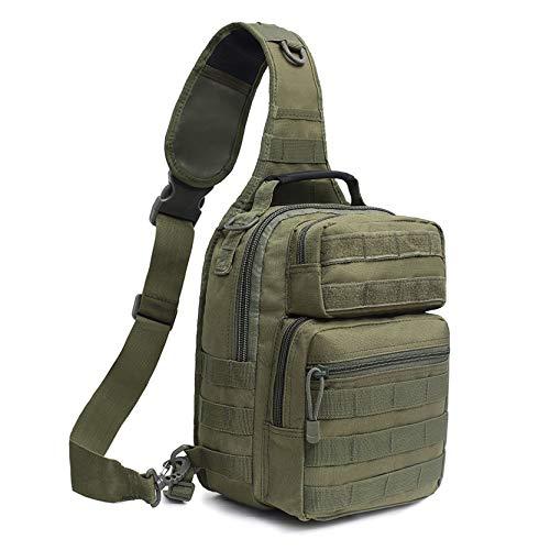 GKE Tactical Backpack Military Sling Bag Fishing Tackle Shoulder Bag for Outdoor Hiking Camping Hunting Shooting Green