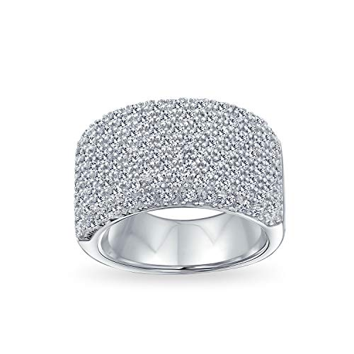 Bling Jewelry Wide Micro Pave AAA CZ Cubic Zirconia Fashion Anniversary Wedding Statement Band Ring for Women 925 Sterling Silver
