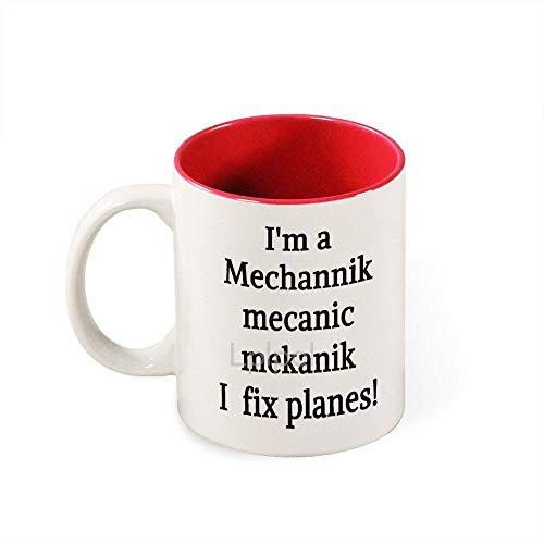 Lplpol I'm A Mechannik Mecanic Mekanik I Fix Planes! Two-Tone Coffee Mug, Gift for Men or Women, 11 oz Ceramic Mug