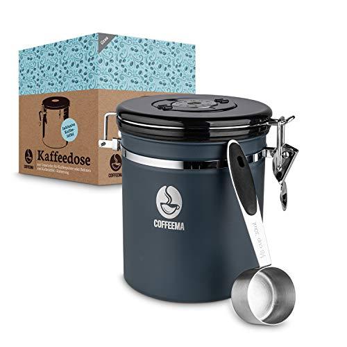 Coffeema® Premium Kaffeedose Edelstahl – [1500] ml Fassungsvolumen – Inklusive Kaffelöffel mit Halterung – [2] Farben – Integrierte Trennvorrichtung (Grau)