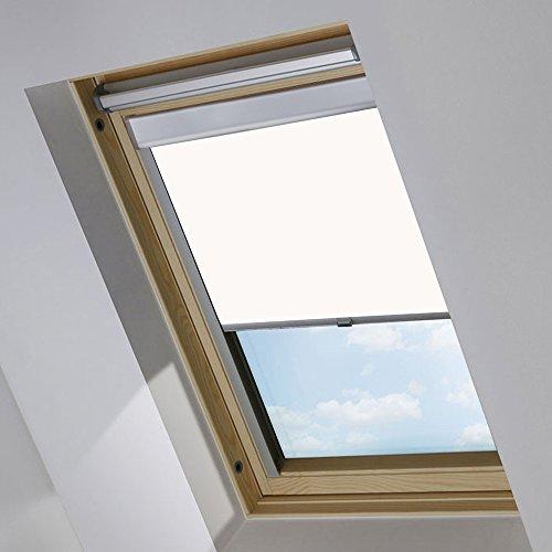MCTECH Dachfenster Rollo Sonnenschutz Verdunkelung Thermorollo Jalousien Rollos (M06/306, Weiß)