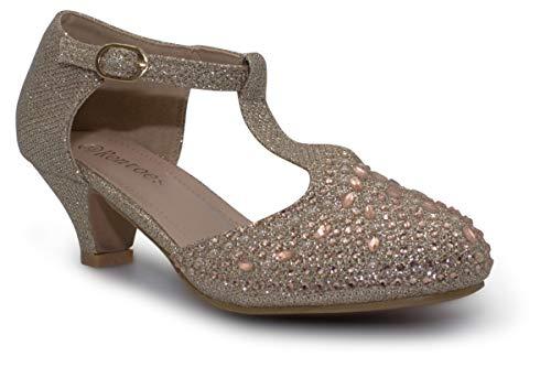 Zapatos de tacón bajo para niñas T-BAR brillantes para ocasiones de fiesta de cumpleaños, color Dorado, talla 29 EU