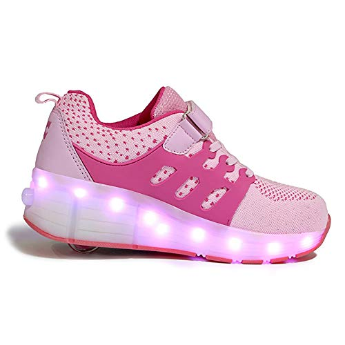 WXBYDX Unisex-Kinder Mode LED Rollschuh Schuhe LED Lichter Blinken Einstellbare Rder Technologie Skateboardschuhe Gymnastik Running Turnschuhe Fr Jungen Mdchen,Größe (28-40) Pink-28