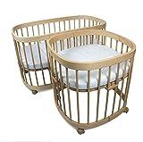tweeto - Cuna para bebé 7 en 1 (multifuncional, ampliable, incluye colchón de 3 piezas), diseño de haya.