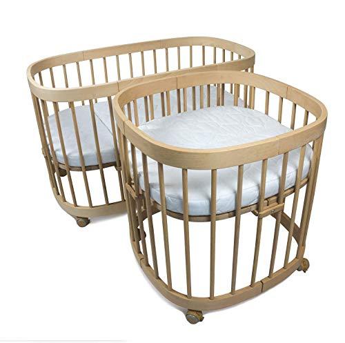 tweeto Babybett Kinderbett Baby 7-in-1 KOMPLETT-SET - multifunktional erweiterbar inkl. 3-tlg. Matratze Design (Buche)