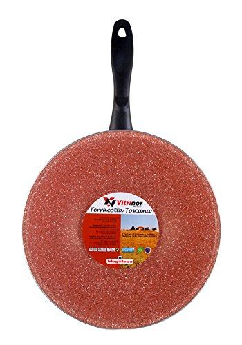 Magefesa Toscana Terracota Wok 28 cm de Acero esmaltado, Antiadherente Multicapa Efecto Piedra, Color marrón Exterior. Apto para Todo Tipo de cocinas, incluida inducción, Borgoña, centimeters