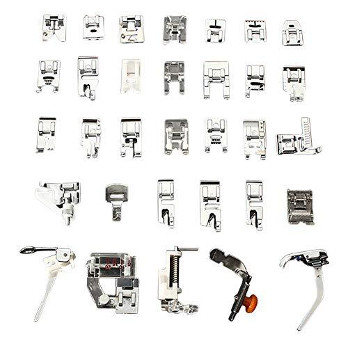 Magiin Set di 32 piedini premistoffa per macchine da cucire domestiche con attacco basse come Janome, Toyota, Brother, Singer, Domestic
