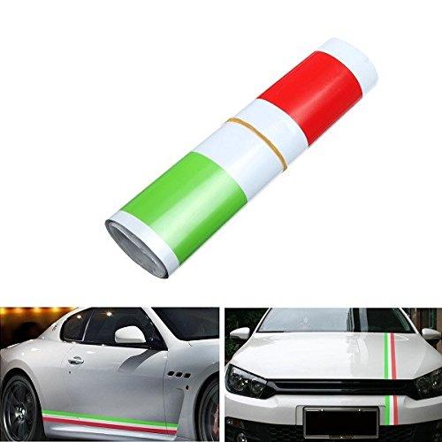 Alamor 1,2 M Bandera Italiana Estilo Franjas Pegatinas Auto Vehículo Capó Parachoques Vinilo Calcomanías