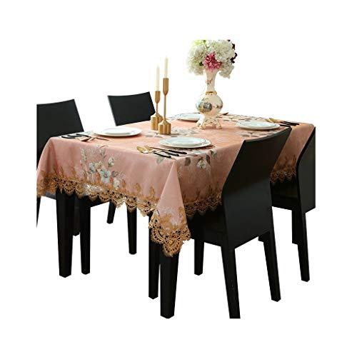 Tablecloth Tischdecke Tischdecke Couchtisch Tischdecke Stoff rechteckige Tischdecke Wohnzimmertisch Rosa Tischdecke Jacquard-Spitze Tischdecke (Color : PINK, Size : 130 * 180CM)