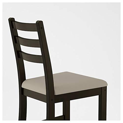 BestOnlineDeals01 LERHAMN Stuhl, schwarz-braun, Ramna beige, 42x49x85 cm, strapazierfähig und pflegeleicht, Polsterstühle, Esszimmerstühle, Stühle, Möbel, umweltfreundlich.