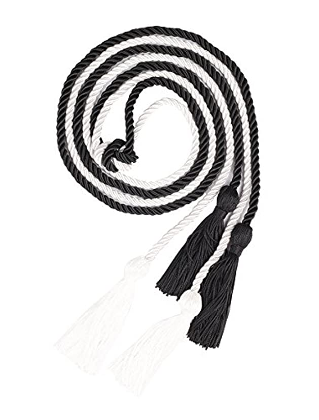 Double Graduation Honor Cords - Black and White,68