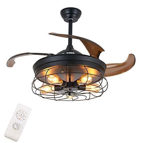 OUKANING Ventilador de techo con iluminación y mando a distancia, 36 pulgadas, industrial, semiflush, lámpara de techo antigua, alas plegables, lámpara de techo para dormitorio, salón o comedor