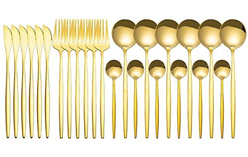 4-delige bestekset, 24 stuks voor 6 personen, roestvrijstalen bestekset, gebruiksvoorwerp met tafelmessen, ideaal voor thuis, keuken, restaurant en als cadeau,Goud