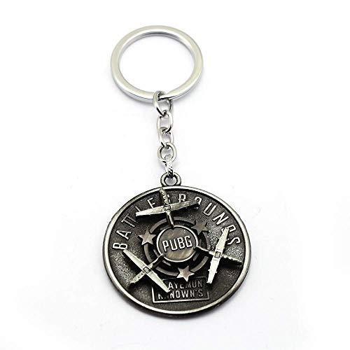 AMITD Schlüsselbund Schlüsselring Spiel Schlüsselbund Pubg Flug Drehbarer Runder Schild Modell Metall Schlüsselbund Anhänger Schlachtfeld Zubehör