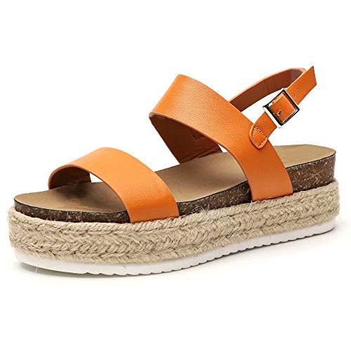 Sandalias Cuña Mujer, Verano Plataformas Chanclas Elegante Sandalias Punta Abierta Zapatos Beige Negro Serpiente Marrón Tamaño 35-43 EU