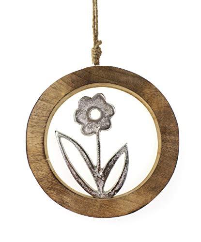Deko Anhänger Blume Blümchen im Holzring 20x20 cm, Mango Holz massiv natur braun Metall Blüte Alu silber, Holzdeko Frühling Ostern