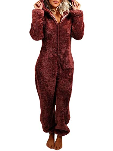 Women's One-Piece Pajamas Soft Fleece Hooded Onesies Warm...