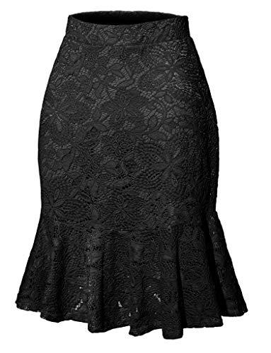 Womens Elegant Lace Skirts Elastic Waist Vintage Mermaid Pencil Skirts Black