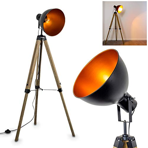 Floor lamp Jupiter, Vintage luminaire, Tripod Floor lamp Made of Wood, Ø 30cm Metal Shade in Black and Copper, Retro Design, with Large Round lamp Shade for 1 x E27 max 40 Watt
