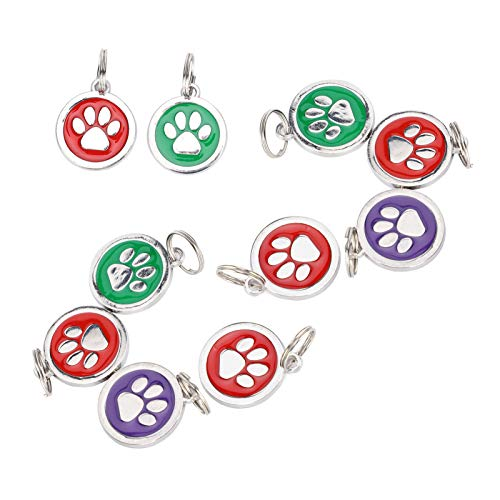 Pet Anti-Lost Supplies, langlebiges Hängeetikett für die Identität von Haustieren, Metall 10 Stück Niedlich für das Namensschild des Haustierhundes Verhindern(Random colors for footprints)