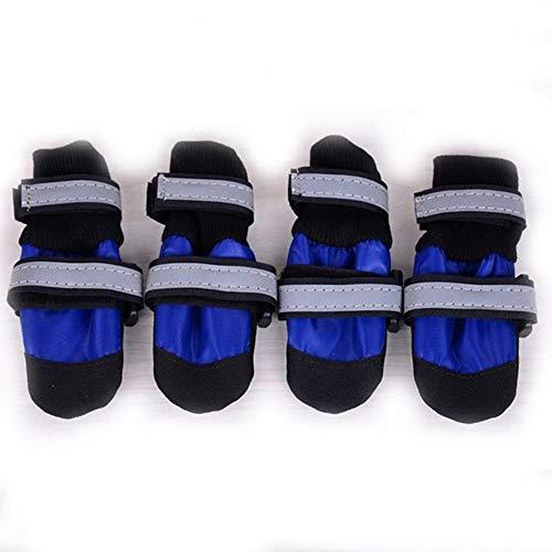 GOUSHENG wasserdichte Winter Hundeschuhe Anti-Rutsch-Schneeschuhe Stiefel Pfotenschutz Warm Reflektierend Für Hunde Labrador Husky Hundezubehör, Blau, L.