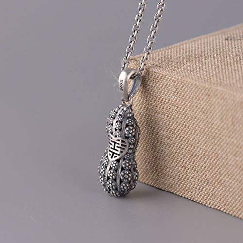 S925 Silber Vintage Damenmode Chinesischen Stil Doppel Glück Erdnuss Anhänger Thai Silber Matt Artikel, WOZUIMEI, Einzelanhänger (ohne Kette), 925er Silber