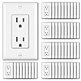[50 Pack] BESTTEN 15A Decorator Wall Receptacle Outlet, 15A/125V/1875W, None-TR, UL Listed, White