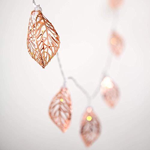 Vintage Lampenschirm Lichterketten,KINGCOO 20LEDs Rosé Gold Metall Polygon Laterne Käfig Geometrisches Lichter Batteriebetriebene für Home Patio Garten Hochzeit (Blätter)