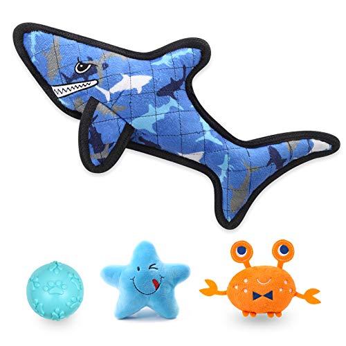 FONPOO Quietschspielzeug Hund, Hai Hundespielzeug Intelligenz, Hunde Interaktives Spielzeug Fuer Große Hunde, Interessantes Intelligenzaspielzeug Set