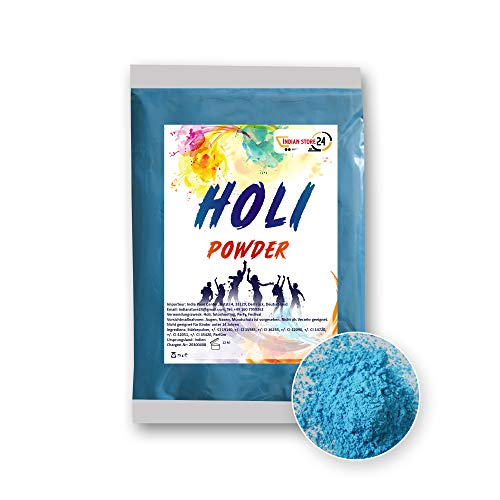 INDIAN STORE 24 1 X Sky Blue Holi Gulal Pulver wasserlöslich Natural Festival Fotoshooting Rangoli Colors Regenbogen Powder holy farbbeutel Glitzer Farbpulver Fotos