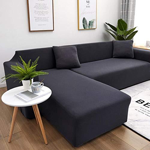 B/H Antirutsch Stretch Sofaüberzug,Für Wohnzimmer Elastic Spandex Couch Bezug Stretch Sofa Handtuch L Form-Dunkel_Grau_2-Sitz_&_3-Sitz,elastische Stretch Sofabezug