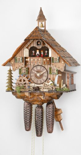Hekas Allemand Horloge Coucou (de la Forêt Noire) avec mouvemente 8 Jour - Style Chalet - 47 cm - Coucou de la forêt Noire Authentique - de